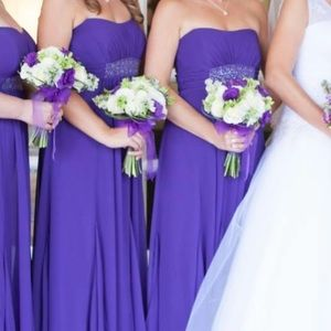 4/$20 Chiffon long bridesmaid dress purple formal